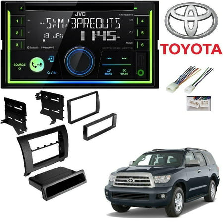 JVC KW-R930BTS Double 2 DIN CD/MP3 Player iHeart Radio SiriusXM Ready Bluetooth TOYK967MG 2007-2013 Toyota Tundra/2008-2013 Sequoia Dash Kit Matte Gray (2001 Toyota Sequoia Cd Player)