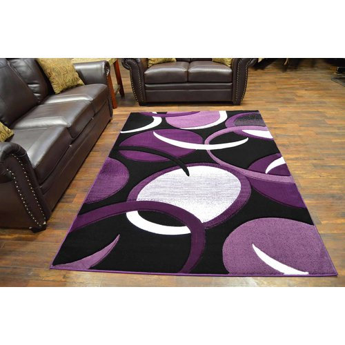 Ivy Bronx Mccampbell 3D Abstract Purple/Black Area Rug