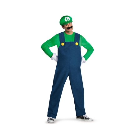 Super Mario Mens Luigi Plus size Costume Delxue - Adult Mario And Luigi Costume