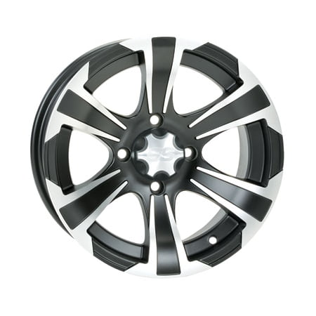 4/110 ITP SS312 Alloy Series Wheel 12x7 5.0 + 2.0 Matte Black for Kymco UXV 700i 2014-2015