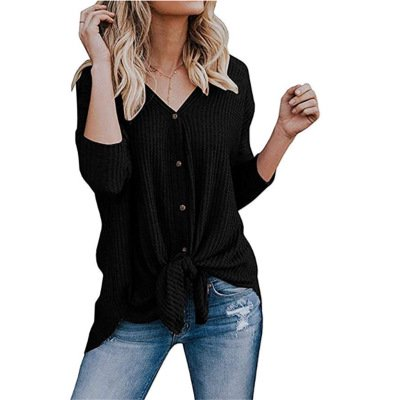 Womens Waffle Knit Tunic Blouse Tie Knot Henley Tops Loose Fitting Bat Wing Plain -