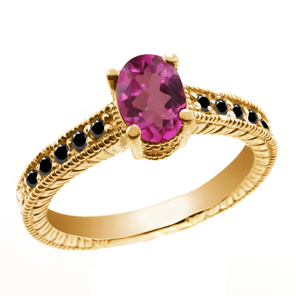 1.28 Ct Oval Pink Mystic Topaz Black Diamond 18K Yellow Gold Ring by