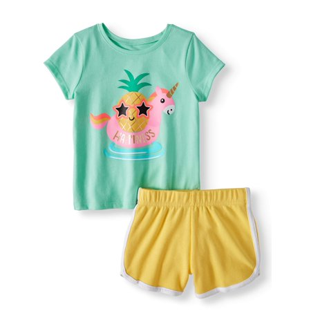 Garanimals Graphic T-Shirt & Solid Dolphin Shorts, 2pc Outfit Set (Toddler Girls)