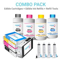 Icinginks Edible Image Printing Combo – Includes 5 Edible Ink Cartridges (CLI-271XL / PGI-270XL), 5 Edible Ink Refill Bottles (120ml Each), and 4 Refilling Syringes – For Latest Canon Pixma Printers