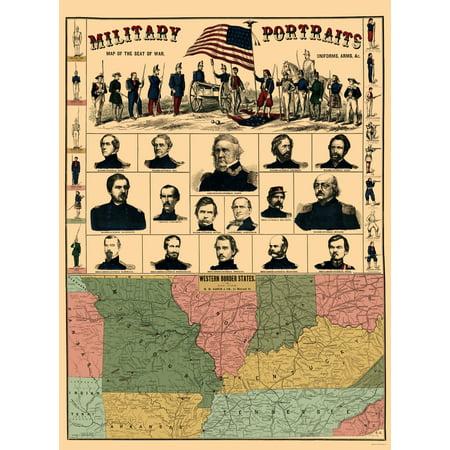 Civil War Map Print   Western Border States   Military Portraits  1861   23 X 31 12