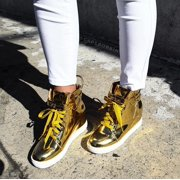 Cape Robbin Fair-6 Mirror Shiny Hidden Wedge Fashion Sneaker Shoe Lace Up Gold