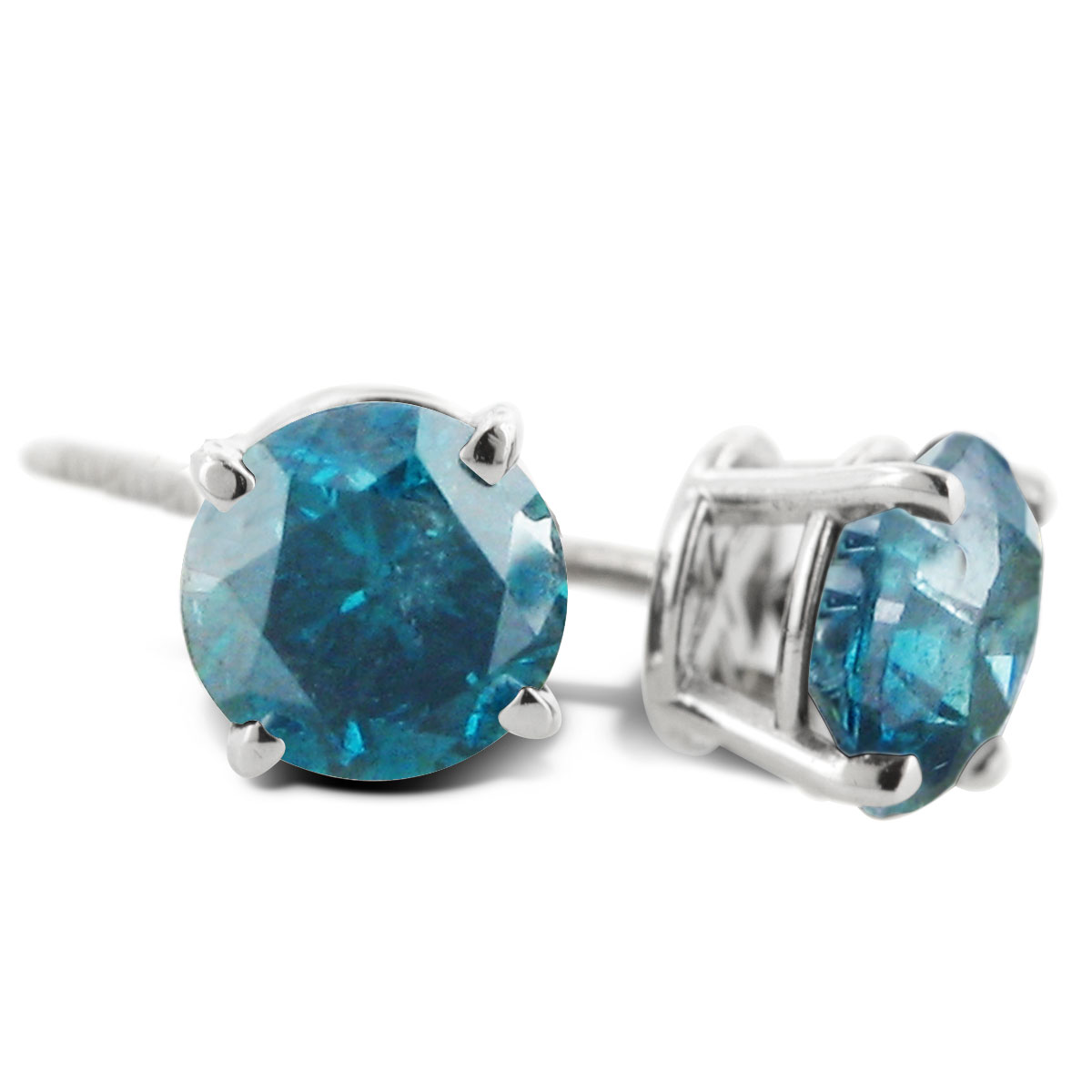 1 Carat Blue Diamond Stud Earrings Crafted In Solid 14 Karat White Gold