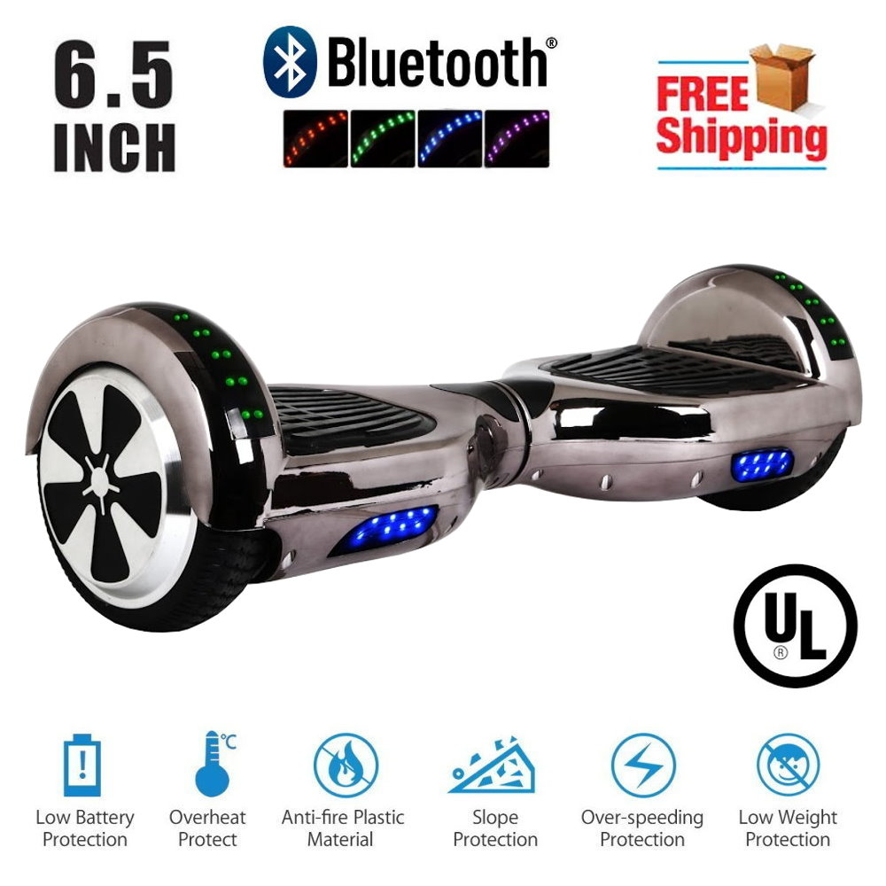 """Hoverboard Bluetooth Two-Wheel Self Balancing Electric Scooter 6.5"""" UL 2272 Certified with Bluetooth Speaker and LED Light Chrome Titanium"""