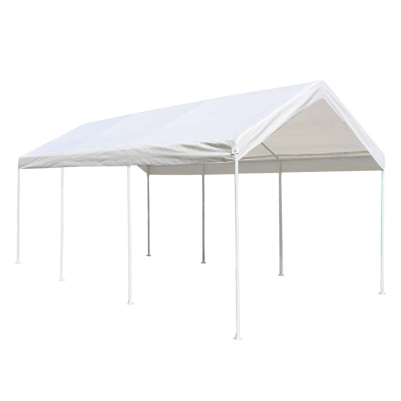 ALEKO 10' x 20' Polyethylene Carport with Steel Frame, Heavy Duty, White Color