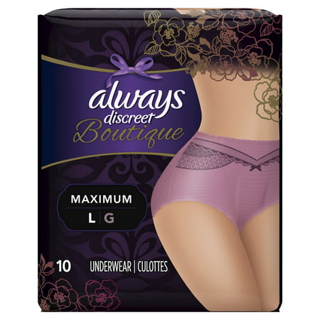 Always Discreet Boutique, Incontinence Underwear for Women, Maximum Protection, Purple, Large, 10 Count