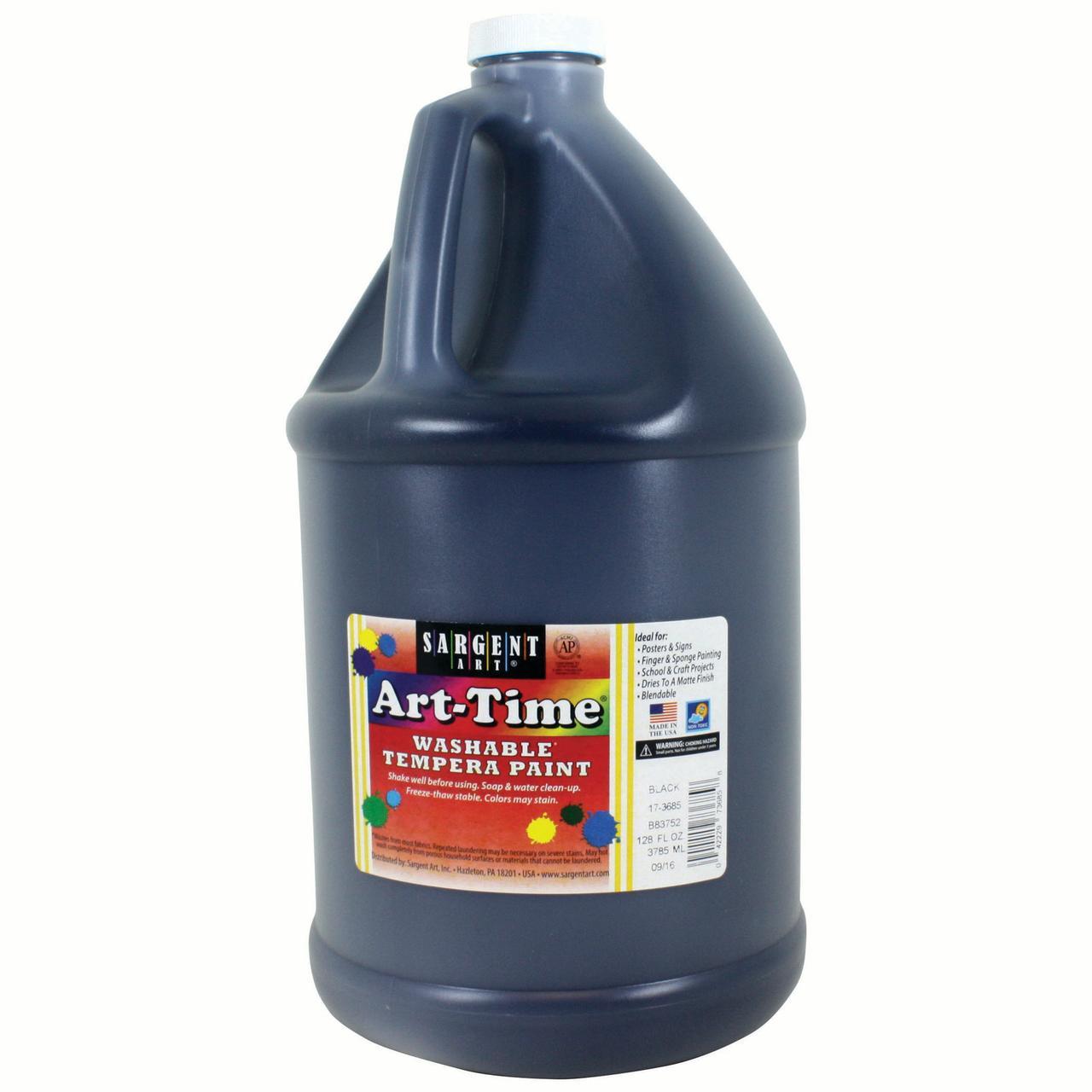 Art -Time® Washable Tempera Paint, Black, Gallon