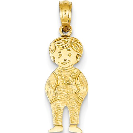 14k Yellow Gold Boy with Hands in Pocket (8x23mm) Pendant / Charm