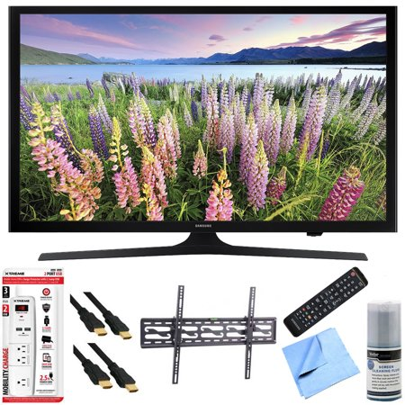 Samsung UN43J5200 – 43-Inch Full HD 1080p LED HDTV Tilt Mount & Hook-Up Bundle includes UN43J5200 43-Inch Full HD 1080p LED HDTV, Flat & Tilt Wall Mount Kit, 6 Outlet/2 USB Wall Tap and Microfiber Cle