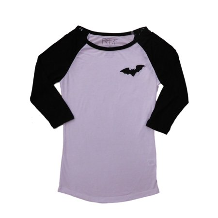 Womens White & Black Semi-Sheer 3/4 Sleeve Bat Man Halloween Tee (White Ladies Looking For Black Man To Marry)