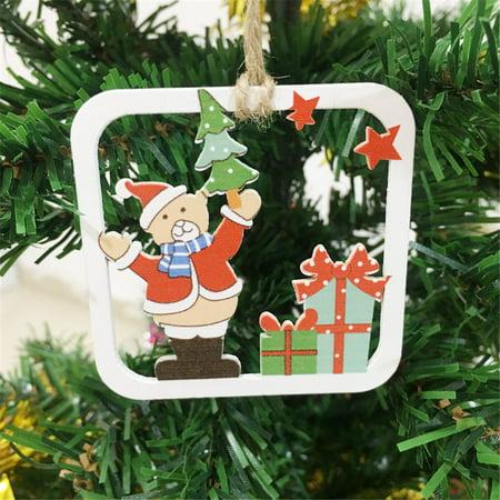 10Pcs DIY Cartoon Craft Christmas Xmas Wood Chip Hanging Ornaments Decor - Easy Diy Christmas Ornaments