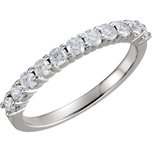 0.55ct Round cut 11 Diamond Anniversary Wedding Band, Size 6, Prong Set, 0.05ct each, Platinum by