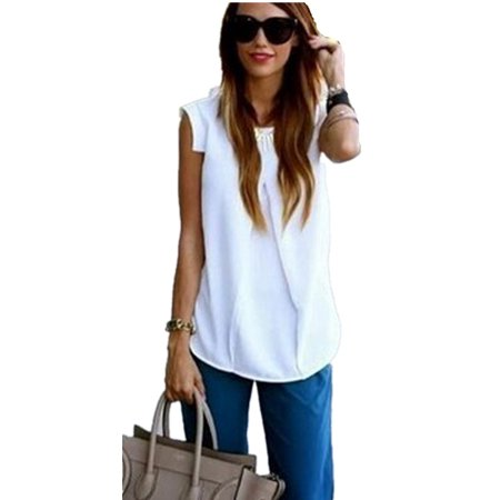 Mupoo Womens Casual Sleeveless Vests Tank Tops Fashion Loose Shirts Blouse