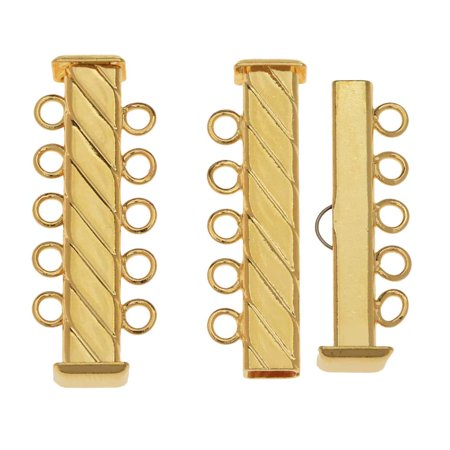 Slide Tube Clasps 5-Strand Fluted Rectangle 31mm Long, 2 Sets, Gold (Rectangle Clasp)