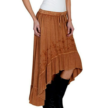 Scully HC165-BEI-L Honey Creek 100 Percent Rayon Womens Hi-Lo Maxi Skirt, Beige - Large