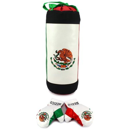 Mexican Flag Children's Boxing Punching Bag Playset w/ Stuffed Punching Bag, Pair of Soft Padded Boxing Gloves, Kids