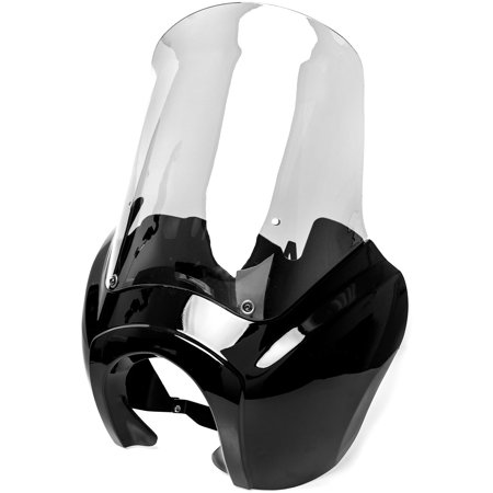 Krator Black & Clear Tall Fairing Windshield Club Style Kit for Harley-Davidson Dyna, Super Glide T-Sport FXDXT, FXR - image 9 de 9