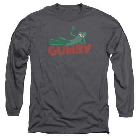 Gumby Green Clay Character On Logo Adult Long Sleeve T-Shirt Tee - Gumby Cartoon Character
