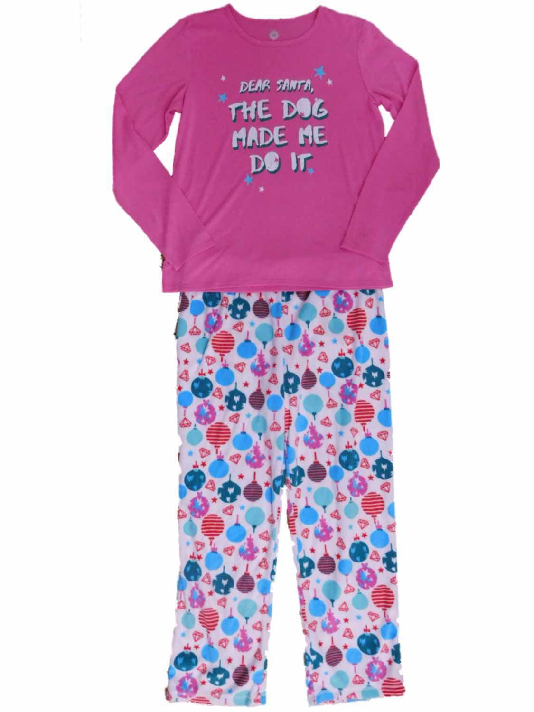 Girls Pink Dear Santa The Dog Made Me Do It Pajamas Fleece Holiday Sleep Set