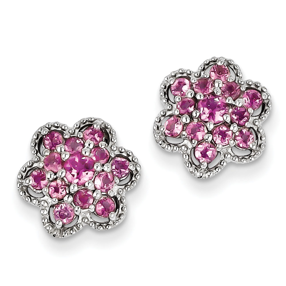Sterling Silver Polished Rhodium-plated Pink Tourmaline Flower Post Earrings .87 cwt by Jewelryweb