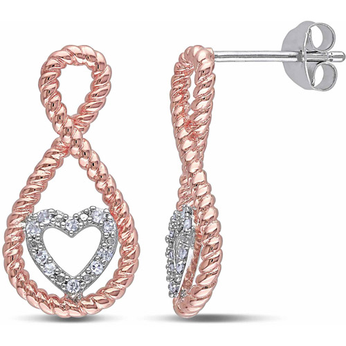 Miabella Diamond Accent Two-Tone Sterling Silver Infinity Heart Earrings