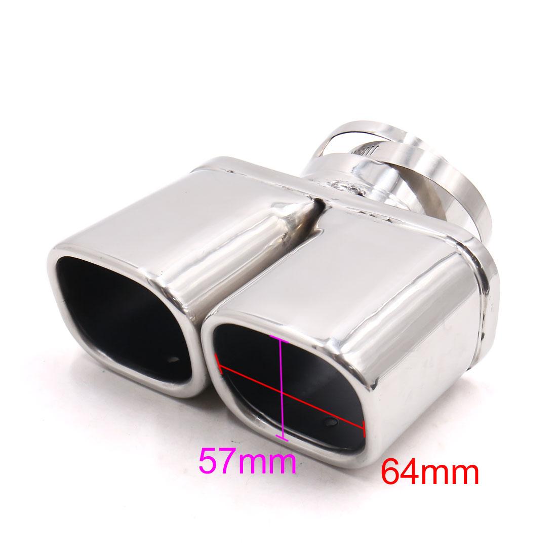 71mm Inlet Inner Diameter Silver Tone Stainless Steel Car Exhaust Pipe Muffler - image 1 de 4