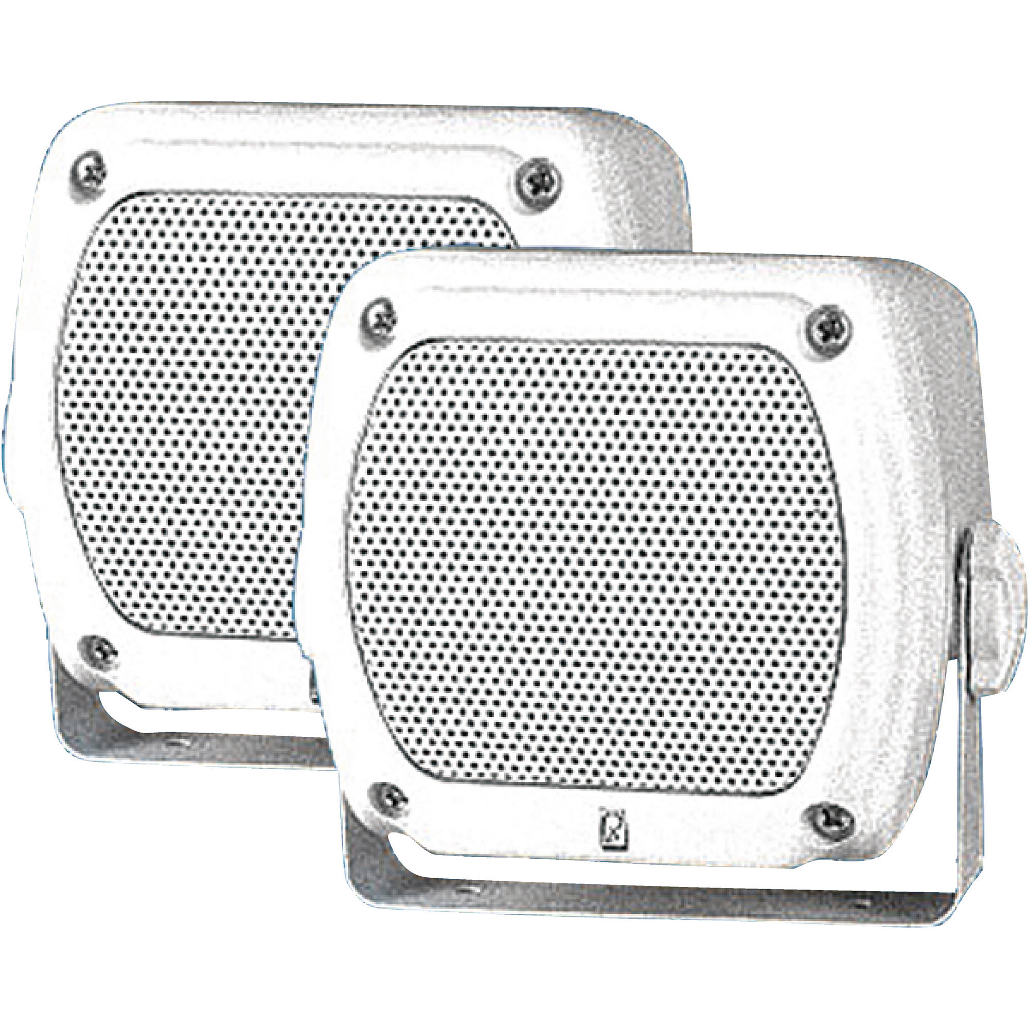 "Poly-Planar MA840W Waterproof Sub compact Box Speakers, 4-3/16"" x 4-1/16"", White (Sold as Pairs)"