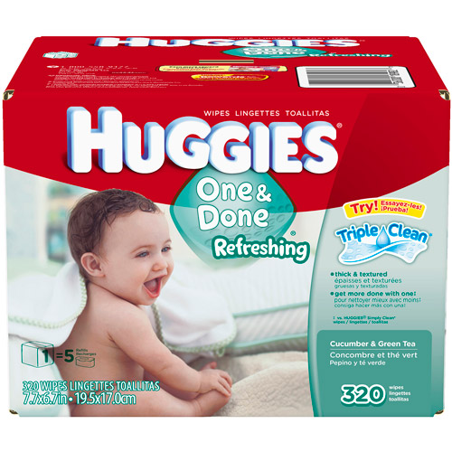 HUGGIES One and Done Refreshing Cucumber and Green Tea Baby Wipes, 320 sheets