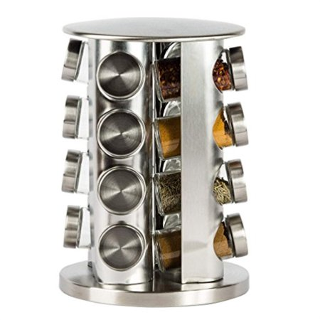 Double2C Revolving Countertop Spice Rack Stainless Steel Seasoning Storage Organization,Spice Carousel Tower for Kitchen Set of