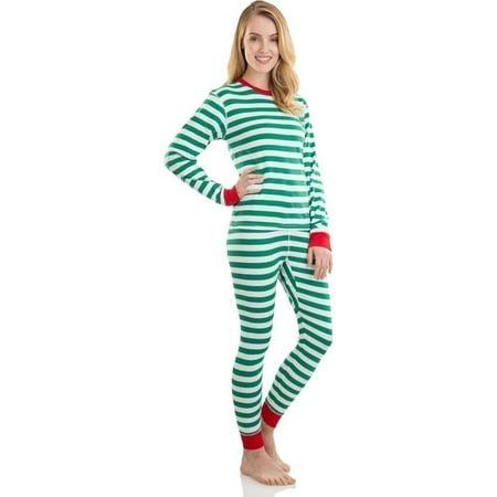 Elowel Unisex Green White Long Sleeve Striped Christmas Pajama Set Adult