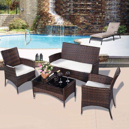 4pcs outdoor patio pe rattan wicker table shelf sofa for Table et chaise en rotin pour veranda