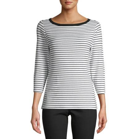 Time and Tru Women's 3/4 Sleeve Boatneck T-Shirt True Fit T-shirts