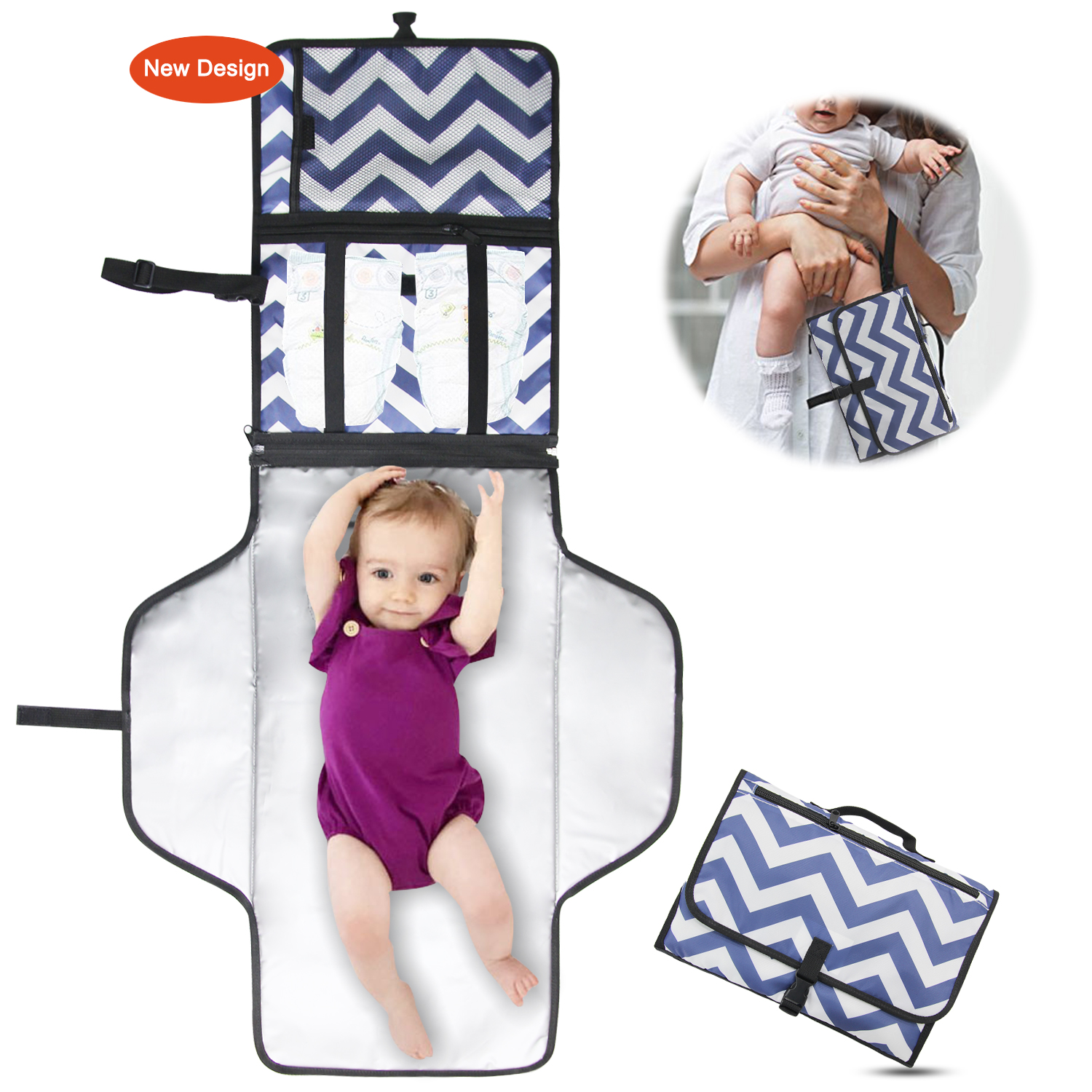 Portable Changing Pad - Diaper Clutch - Lightweight Travel Station Kit for Baby Diapering - Entirely Padded, Detachable and Wipeable Mat - Mesh and Zippered Pockets