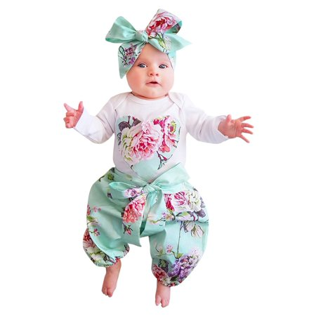 clearence 3pcs Toddler Infant Baby Girls Floral Clothes Set Tops+Pants+Headband Outfits clearence
