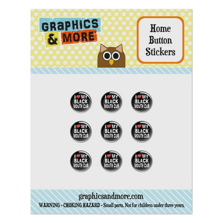 I Love My Black Mouth Cur Stylish Home Button Stickers Set Fit Apple iPhone iPad iPod (My Ipod Classic Won T Turn On)
