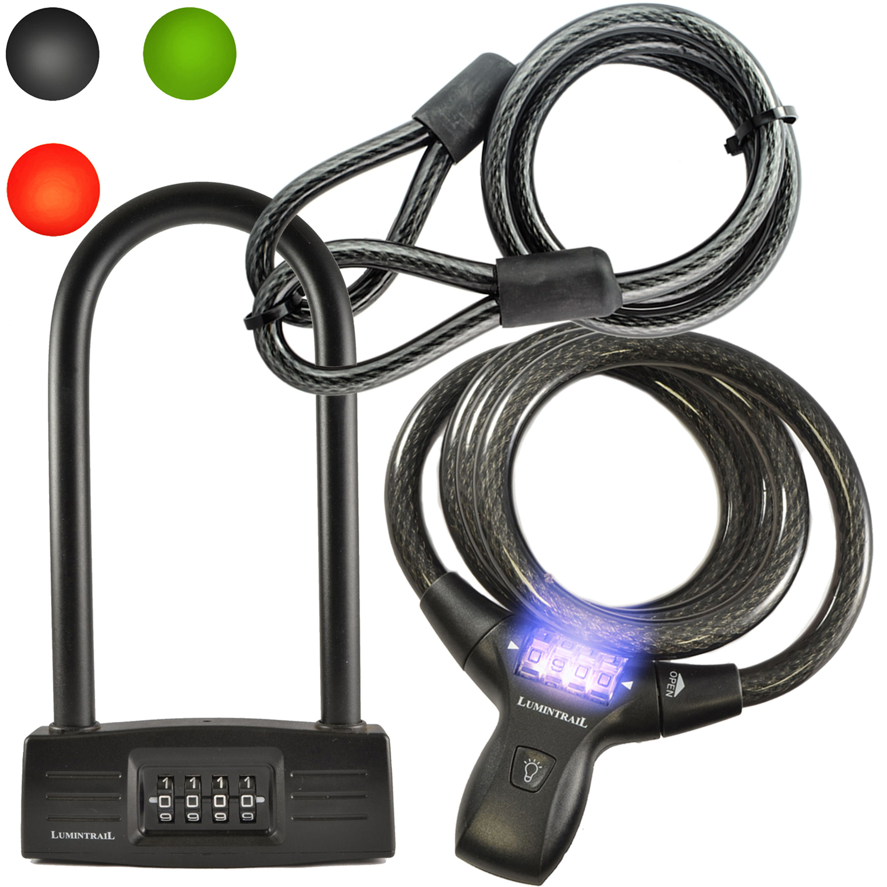 Lumintrail 14mm 4 Digit Combination Bike Cable Lock and Bicycle U-Lock Combo Package with 4 Foot Braided Steel Looped Security Cable