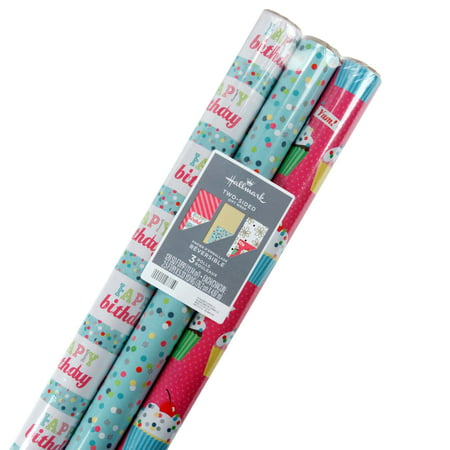 Mirella Wrap (Hallmark Reversible Birthday Wrapping Paper, Flowers and Cupcakes (Pack of 3, 120 sq. ft. ttl.))