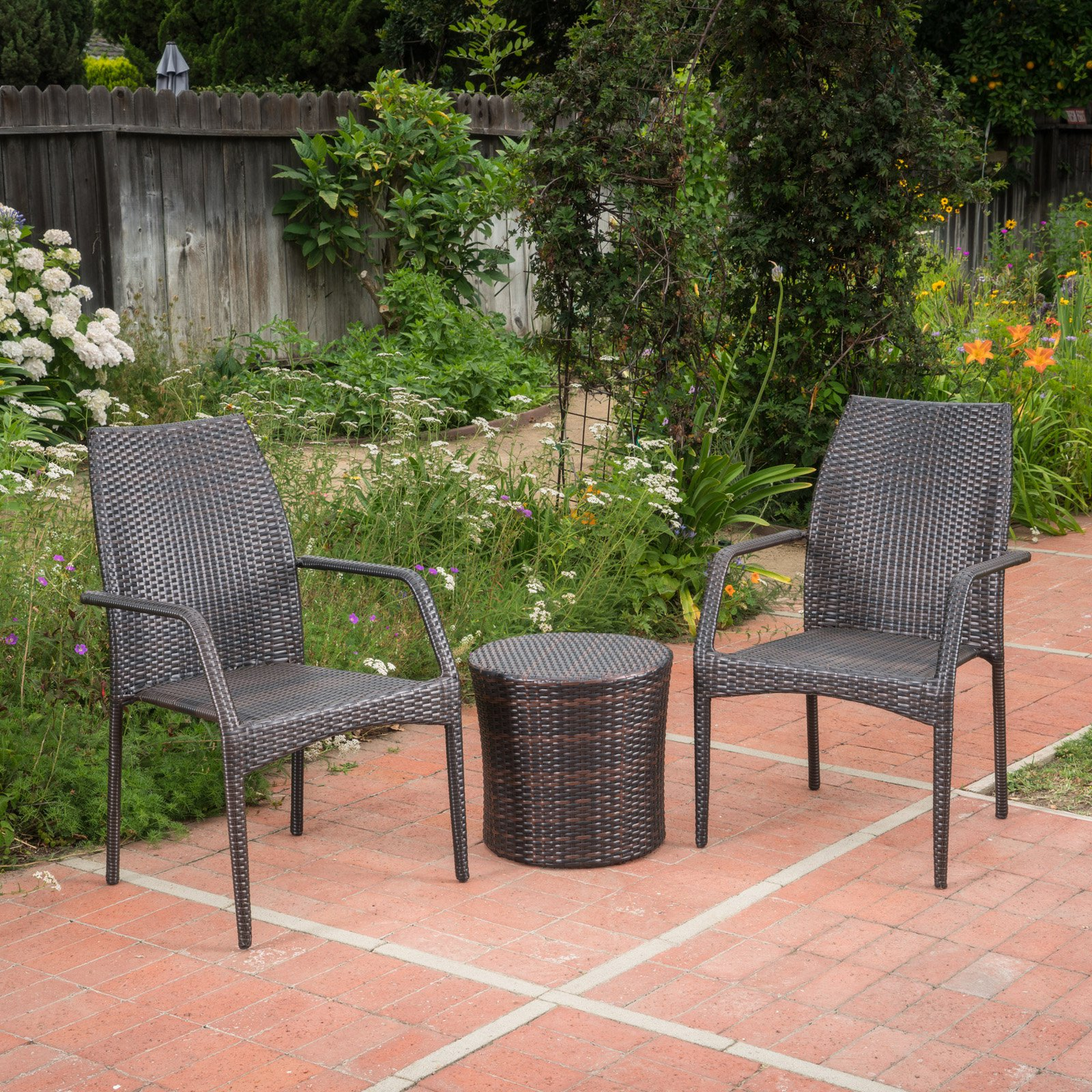 Downing Wicker 3 Piece Outdoor Stacking Chair Chat Set