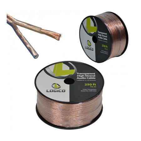 clear 12 gauge 2 conductor 12 awg stranded 250 39 feet speaker audio cable wire. Black Bedroom Furniture Sets. Home Design Ideas