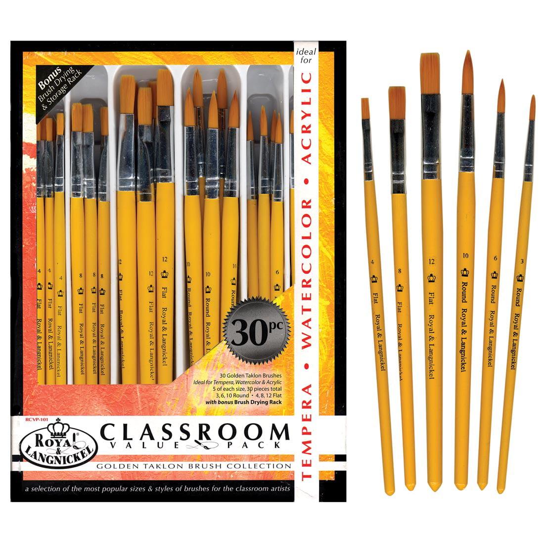 Royal Brush Golden Taklon Brush Classroom Value Pack, Pack of 30