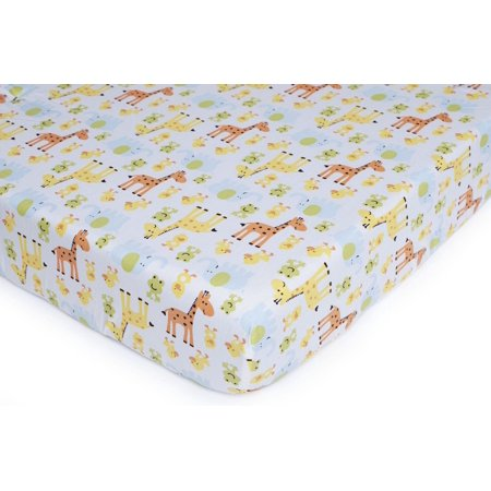 Carter's Easy Fit Printed Crib Fitted Sheet, Safari Duck