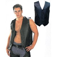 USA Leather 201 Classic Style Black Leather Vest with Snap Button Closure Black