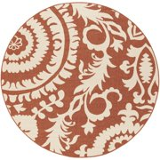 7.25' Flowery Maze Terracotta Red and Cream White Shed-Free Round Area Throw Rug
