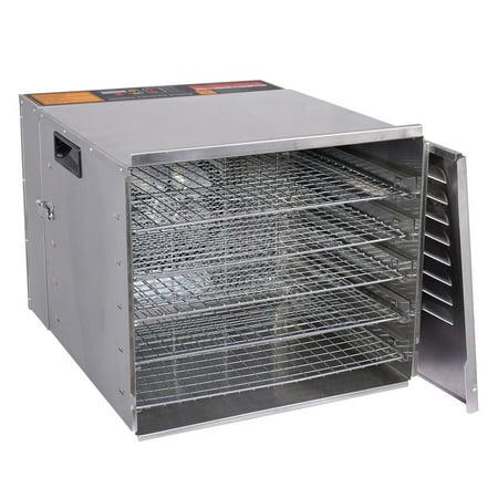 Goplus 10 Tray Food Dehydrator Stainless Steel Fruit Jerky Dryer Blower - Jerky Kit Food
