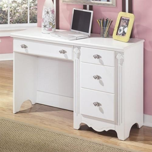 Signature Design by Ashley Furniture Exquisite 4-Drawer Bedroom Desk in White