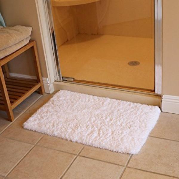 Kmat 20x32 Inch White Bath Mat Soft Shaggy Bathroom Rugs Non Slip